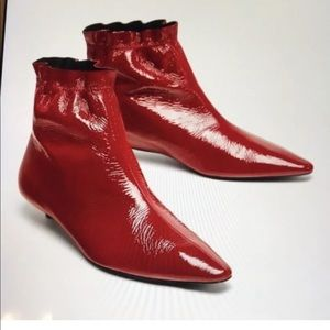 Zara red pointy leather booties